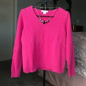 Liz Claiborne hot pink, knit v-neck sweater